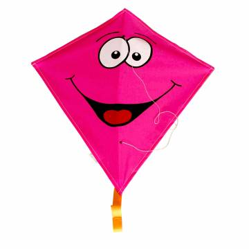 Rhombus Vlieger Diamond Smiley - Roze