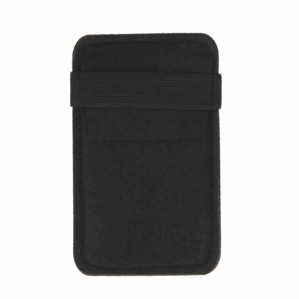 Telefoonhoesje Vilt - Zwart, 14cm