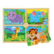 Houten Puzzel Safari, 4in1