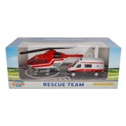 2-Play Die-cast Hulpdienst Ambulance en Helikopter
