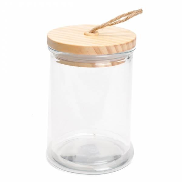 Glazen Voorraadpot met Houten Deksel