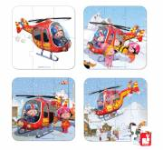 Janod Puzzelkoffer Pierre's helicopter, 4-in-1