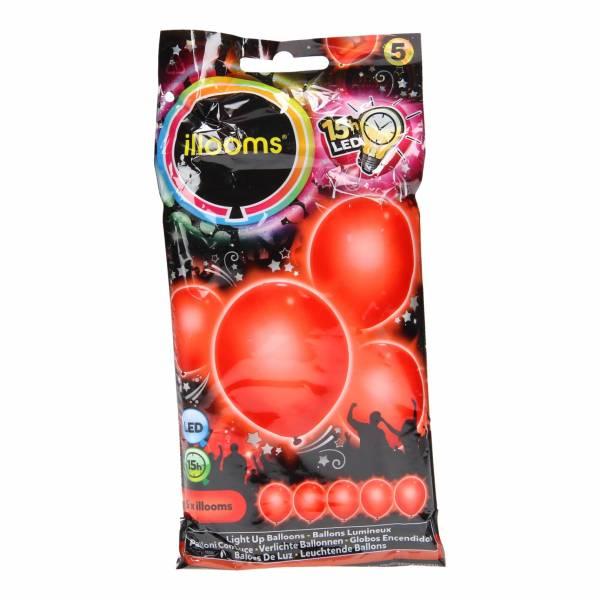 Illooms LED Ballonnen Rood, 5st.