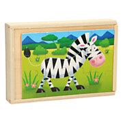 Lobbes-Houten Puzzelbox 4in1 - Wilde Dieren-aanbieding