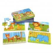 Lobbes-Puzzels in Opbergblik - 4in1 Safari-aanbieding