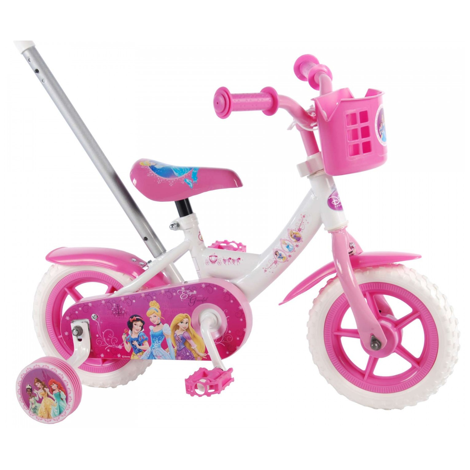 Disney Princess Fiets - 10 inch - Roze/Wit