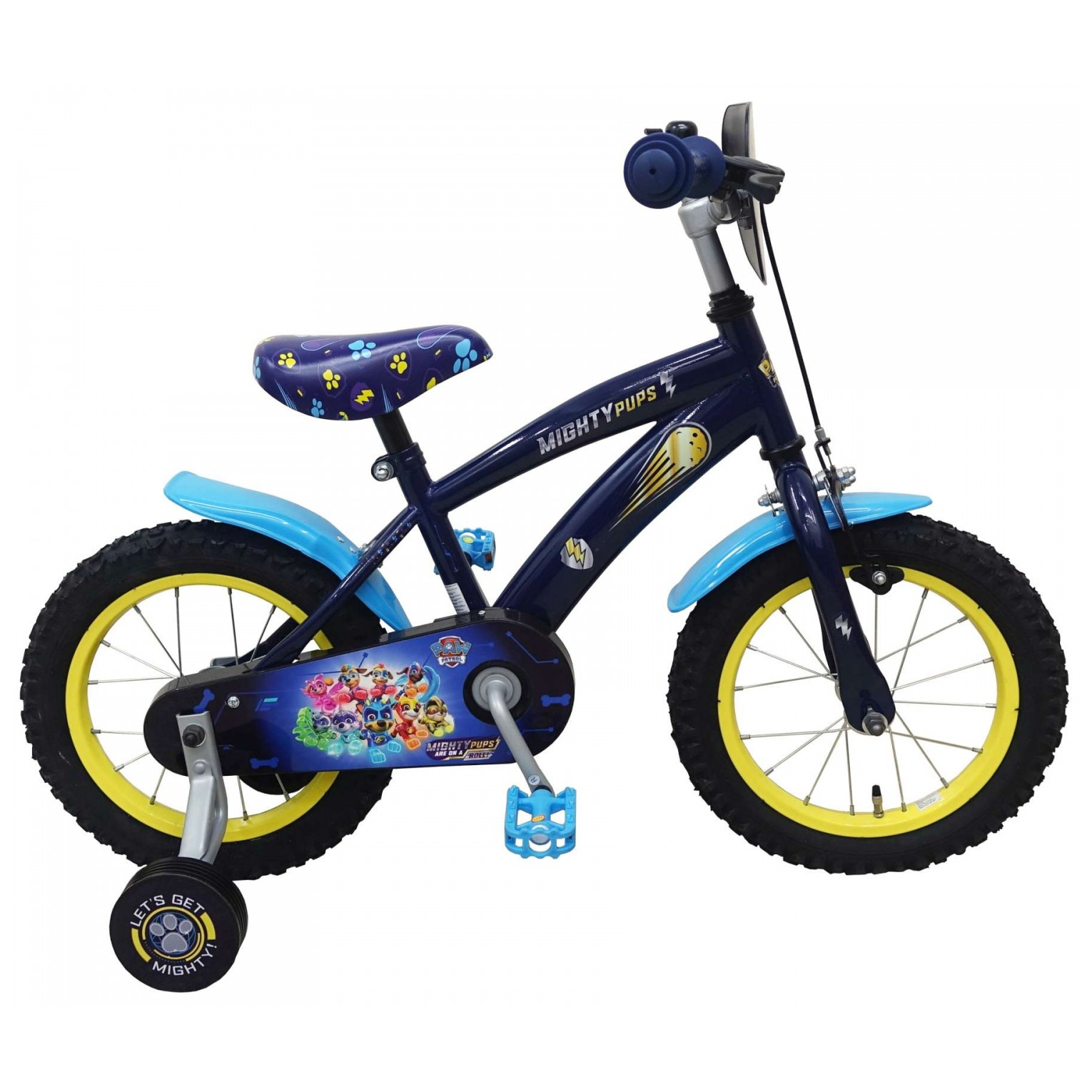 Paw Patrol Mighty Pups Fiets - 14 inch - Blauw