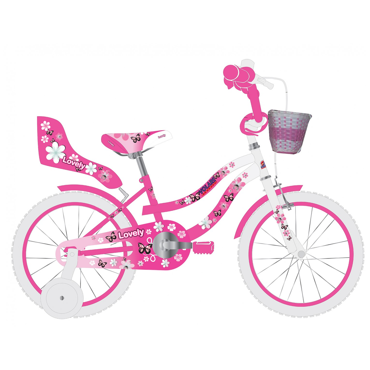 Volare Lovely Fiets - 12 inch - Roze Wit