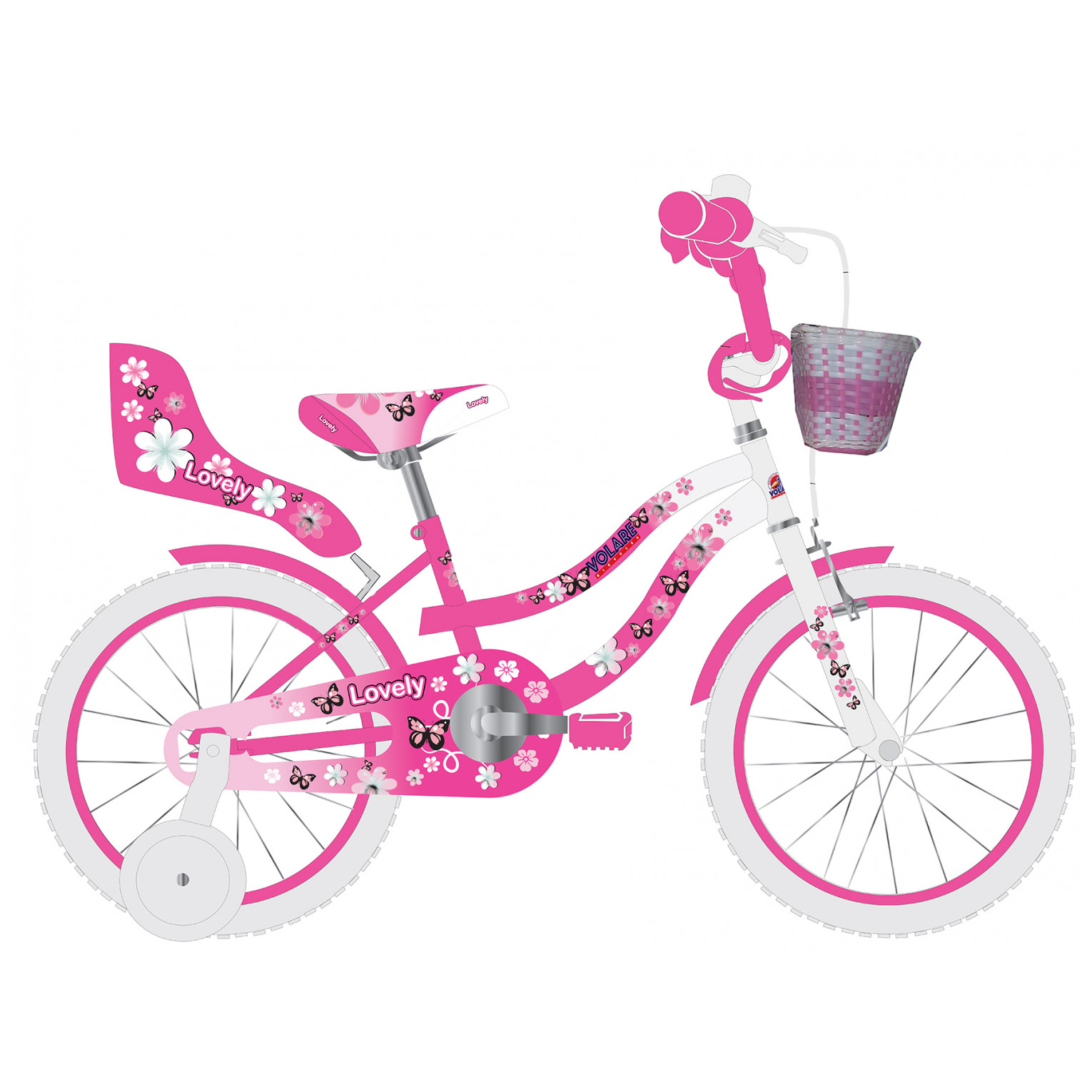 Volare Lovely Fiets - 14 inch - Roze Wit