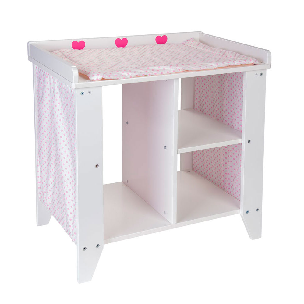 Poppen Commode Hout Wit/Roze