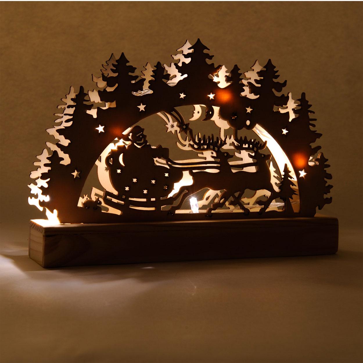 Houten kerst decoratie met led online kopen for Houten schijven decoratie
