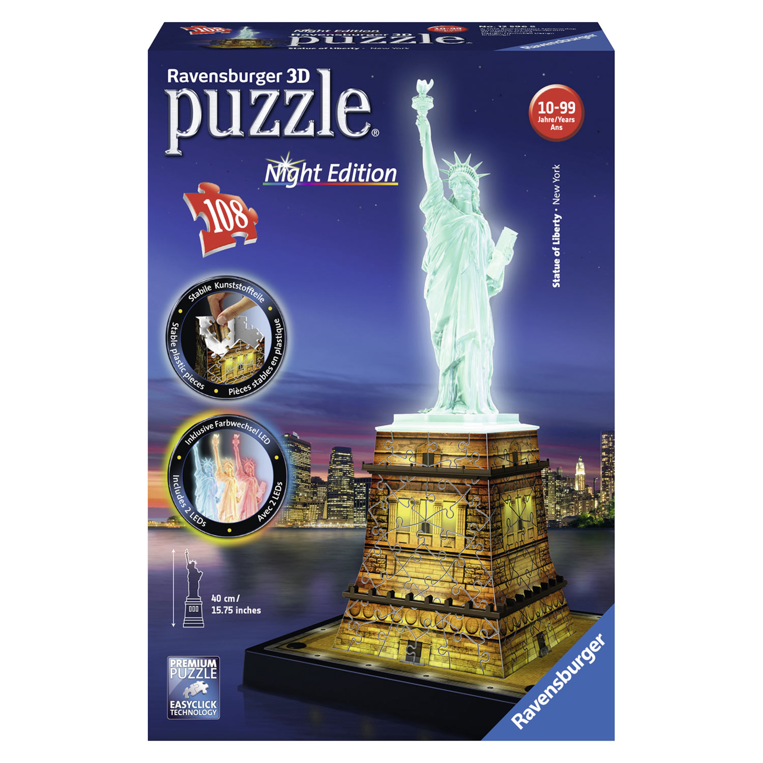 Ravensburger 3D Puzzel - Vrijheidsbeeld Night Edition