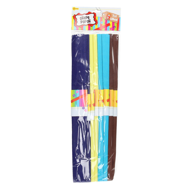 Crepepapier - Paars, Blauw, Bruin en Geel