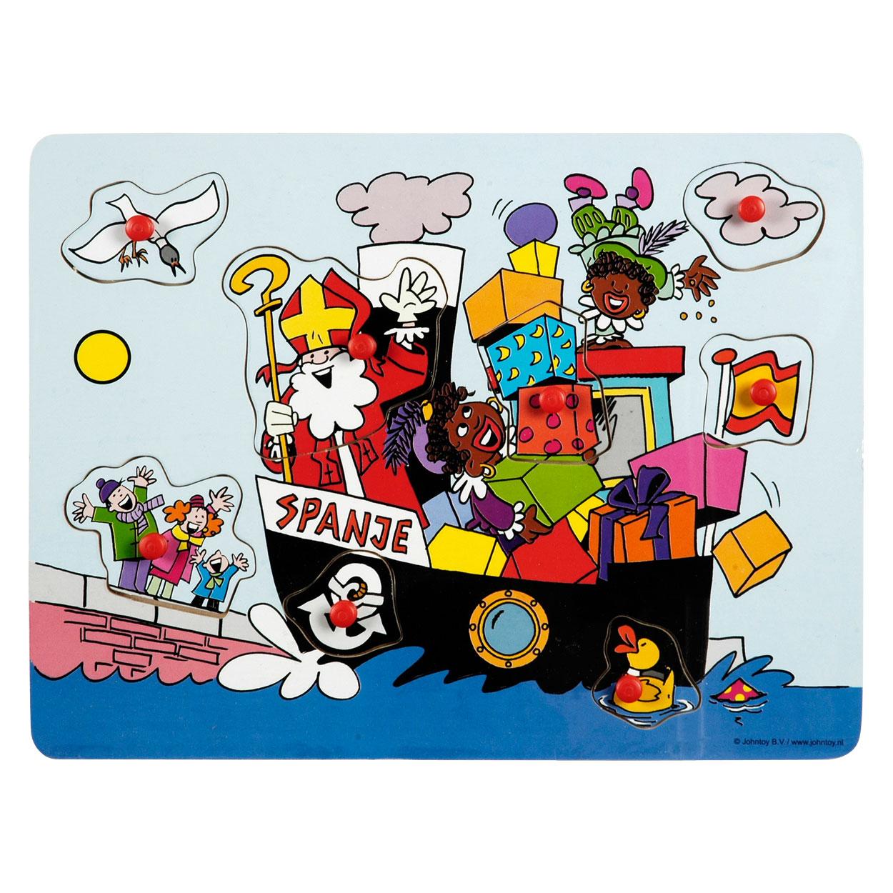 Houten Noppenpuzzel Stoomboot Sinterklaas Online Kopen