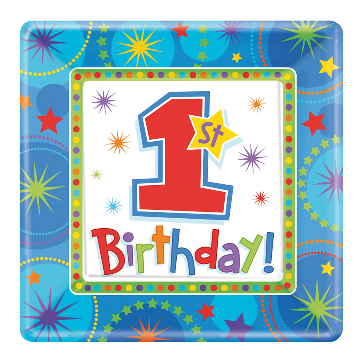 Favoriete Bord vierkant Eerste Verjaardag Jongen, 8st. online kopen | Lobbes.nl @KN34