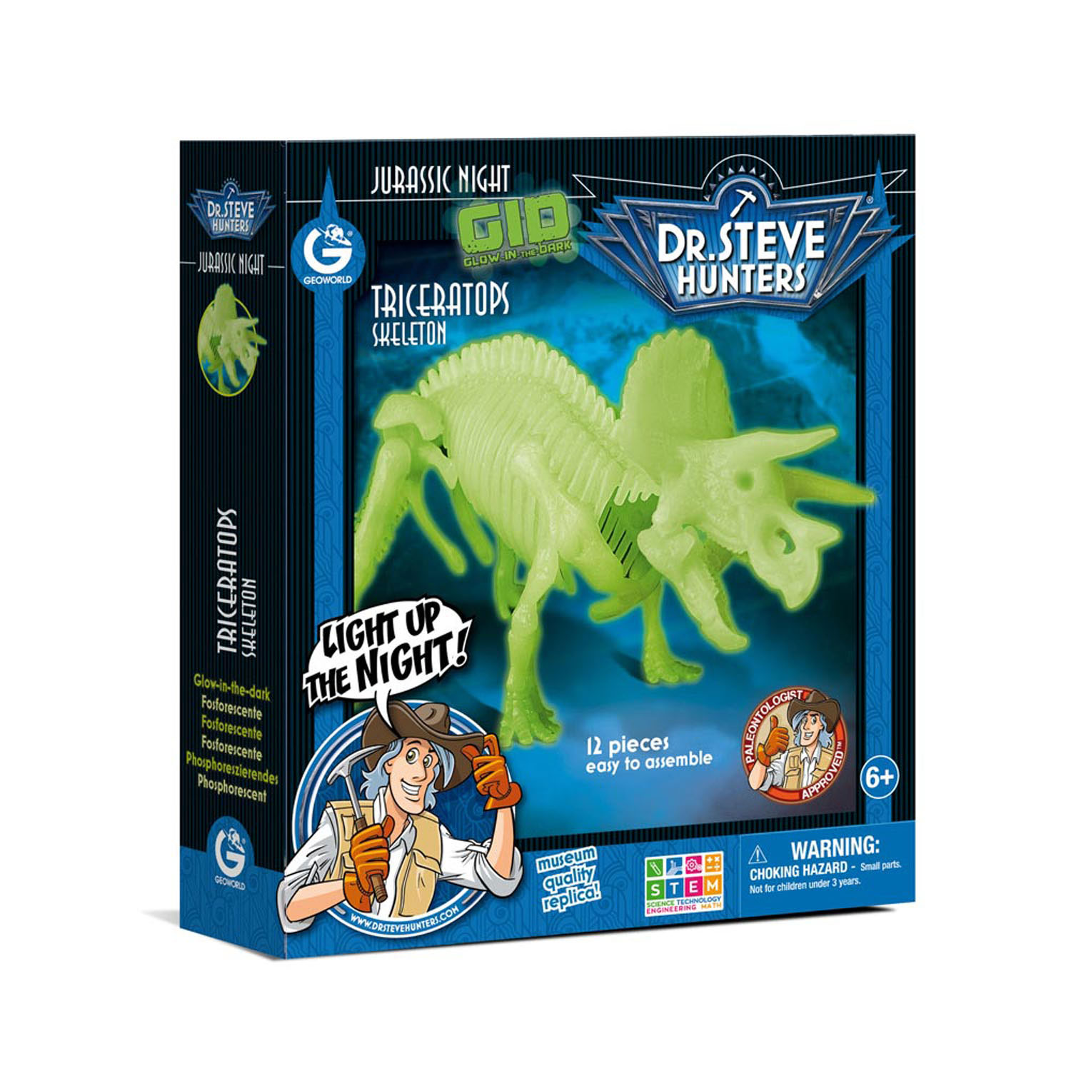 Geoworld Glow in the Dark Bouwset - Triceratops