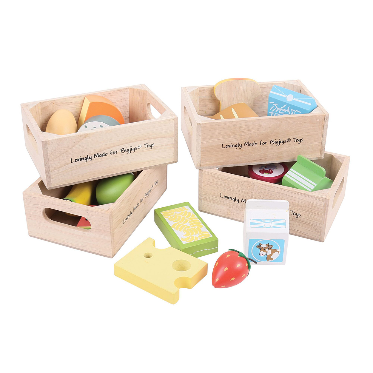Speelgoed Keuken Accessoires Hout : Houten Speelset met Gezond Eten en Zuivel online kopen