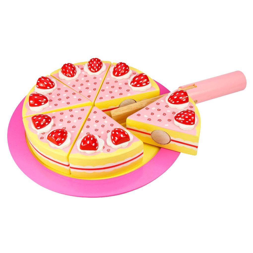 Speelgoed Keuken Accessoires Plastic : Houten Verjaardagstaart Aardbei online kopen Lobbes.nl