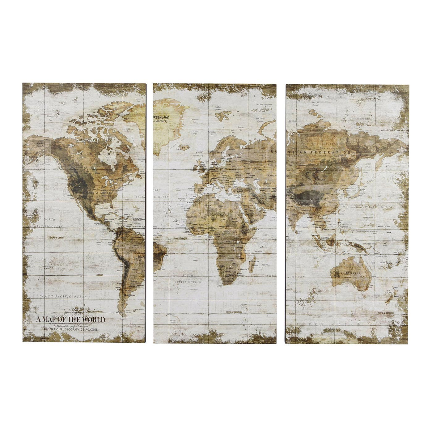 Wandplaat Wereldkaart Drieluik, 80x120cm