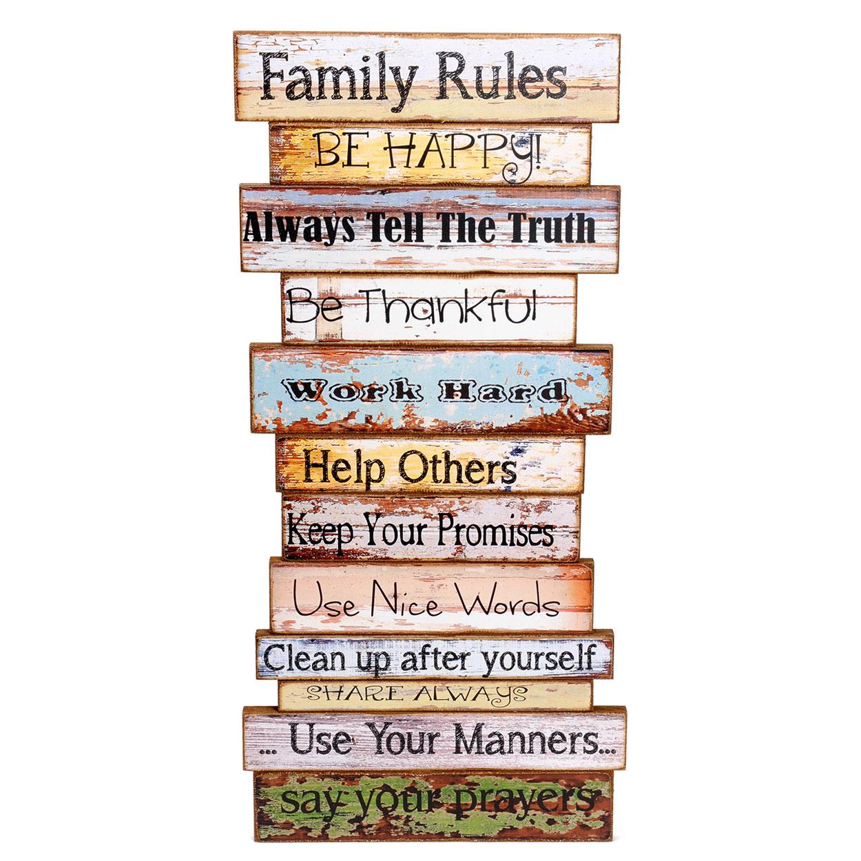 Wanddecoratie Bord Hout.Houten Wanddecoratie Family Rules Online Kopen Lobbes Nl