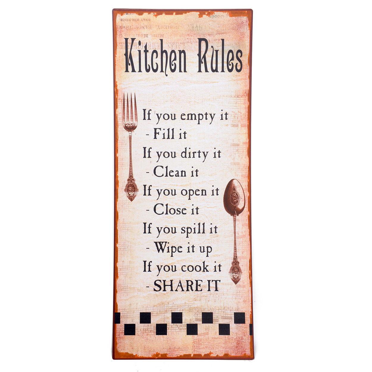 Houten Tekstbord Keuken : Metalen Tekstbord 'Kitchen Rules' Wit online kopen Lobbes.nl