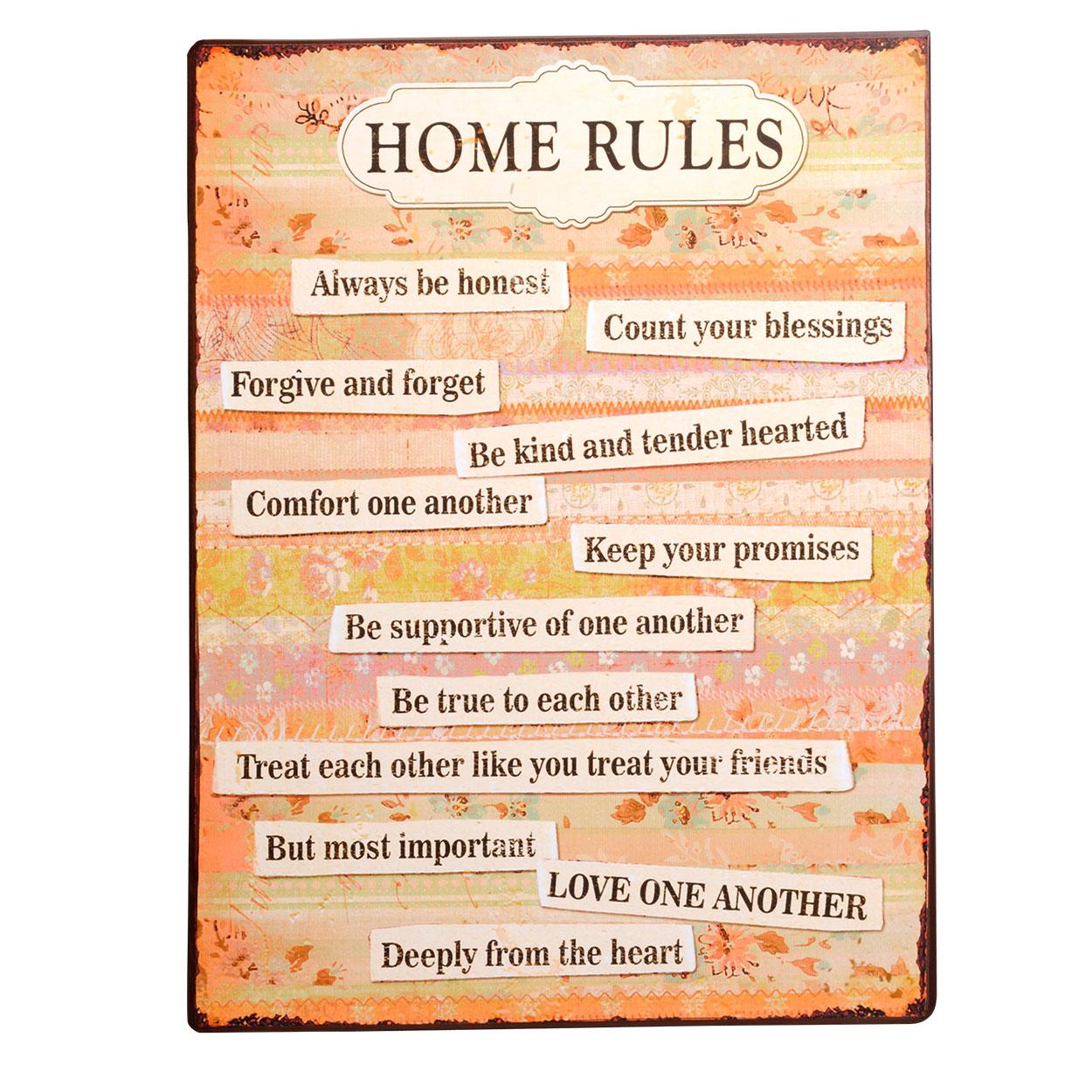metalen wanddecoratie home rules online kopen lobbesnl