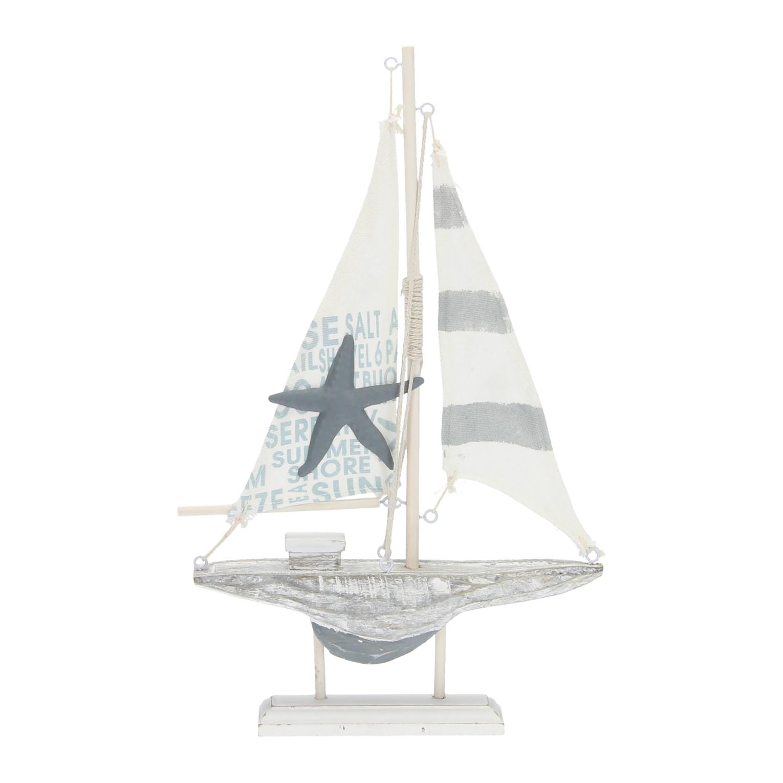 Zeilboot op standaard hout online kopen for Decoratie zeilboot