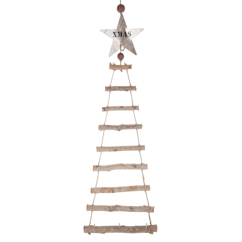 Houten ladder boom met metalen ster online kopen for Houten decoratie boom