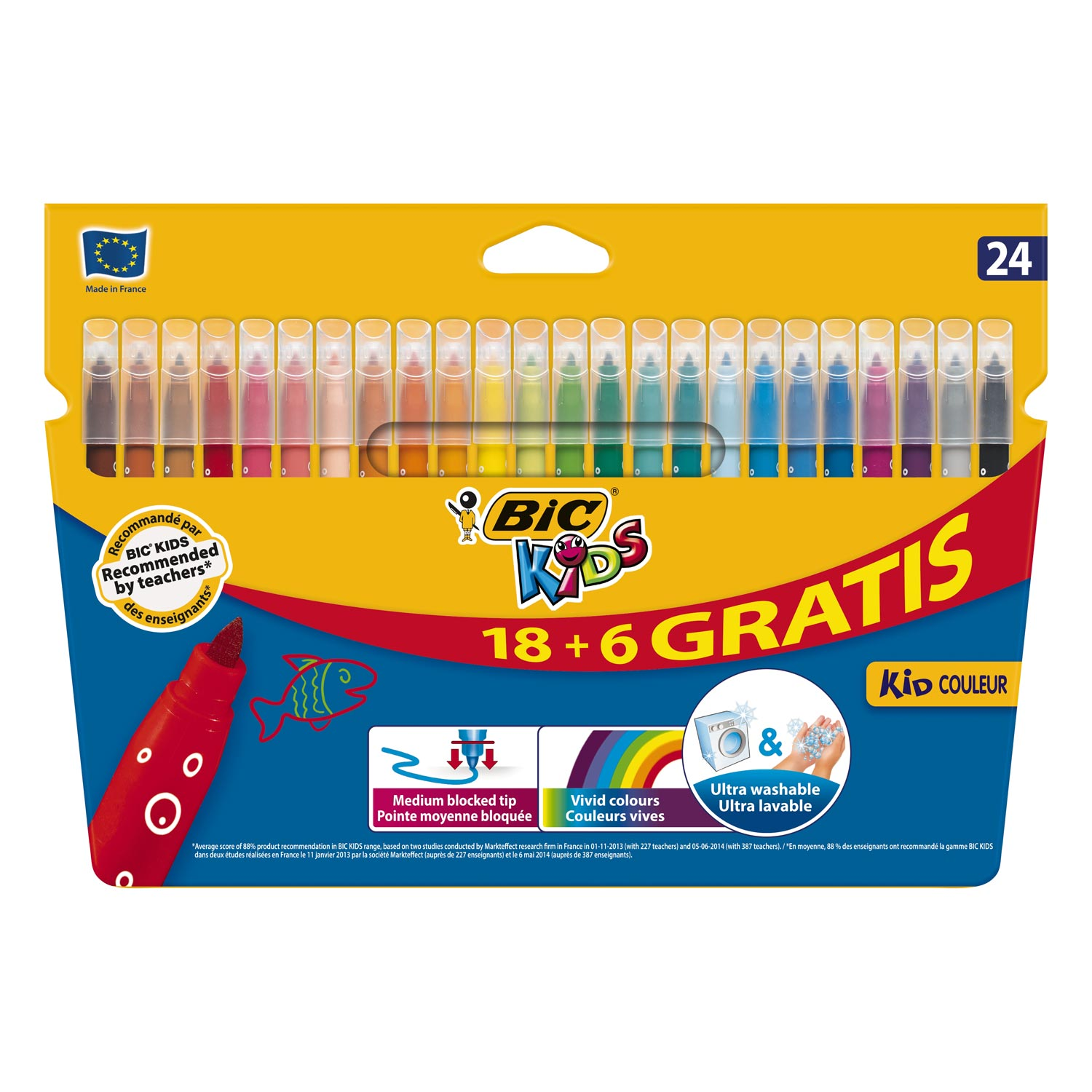 BIC Kids Kid Couleur, 18 + 6st gratis
