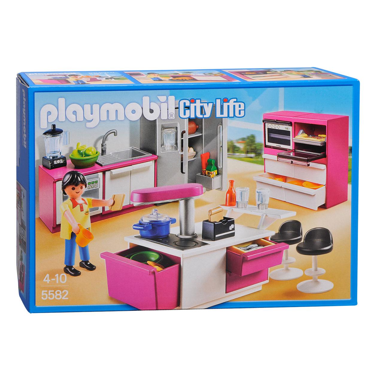 Playmobil 5582 keuken met kookeiland online kopen for Cuisine 5582 playmobil