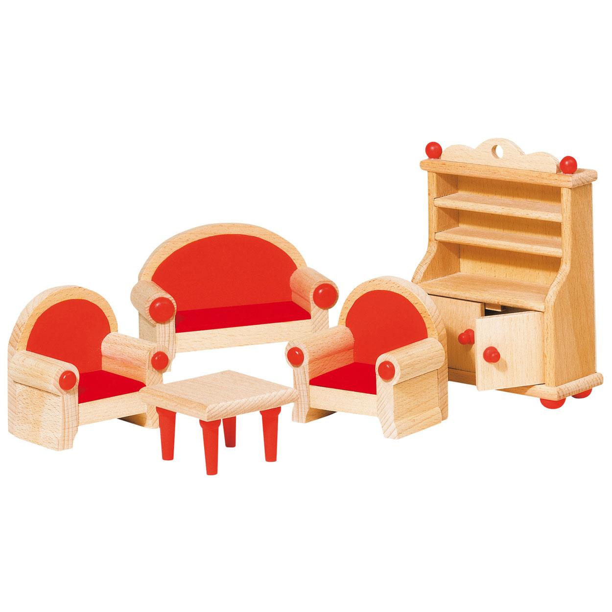 Poppenhuis meubeltjes woonkamer online kopen for Houten meubels woonkamer
