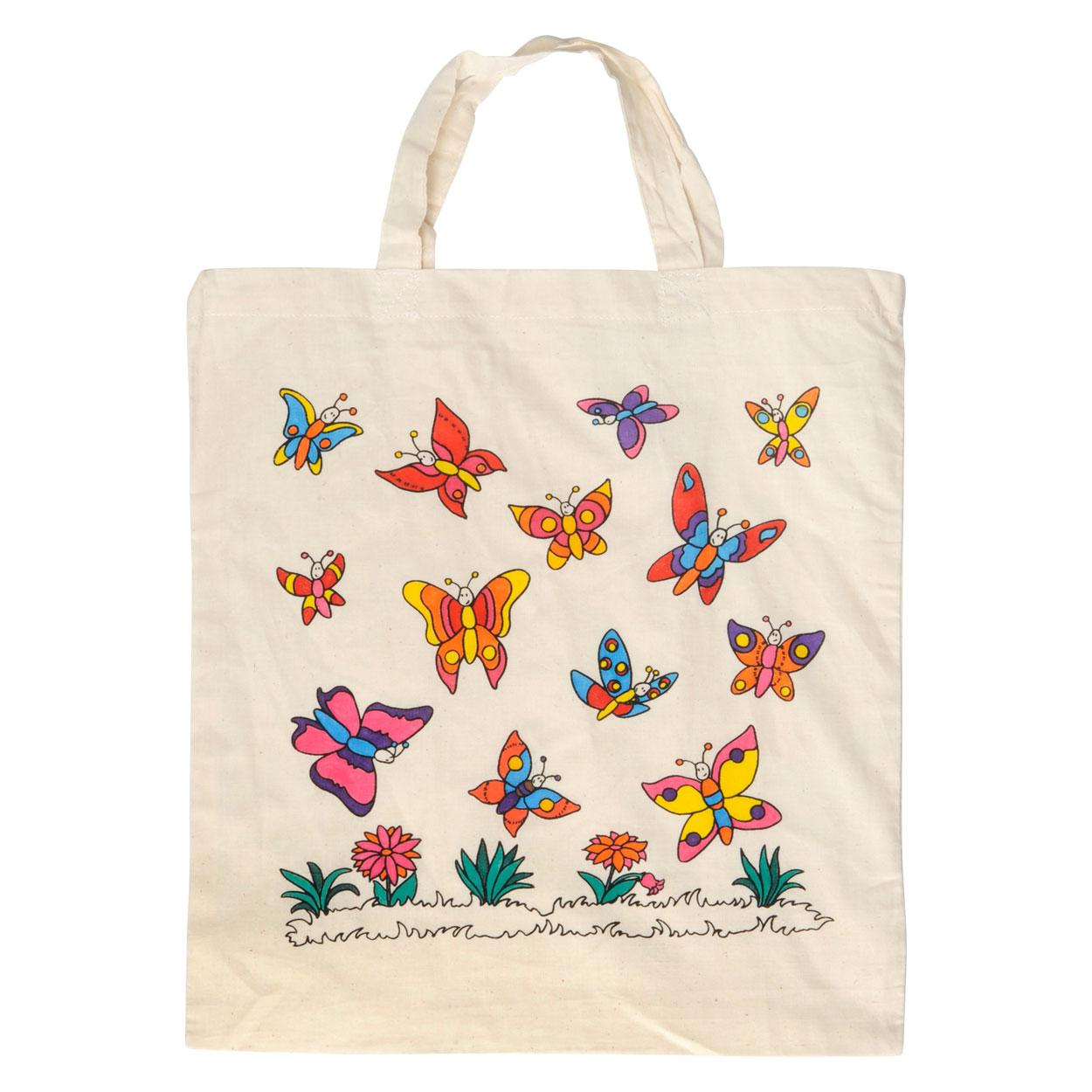 Stoffen Tas Beschilderen : Katoenen tas vlinder kopen lobbes