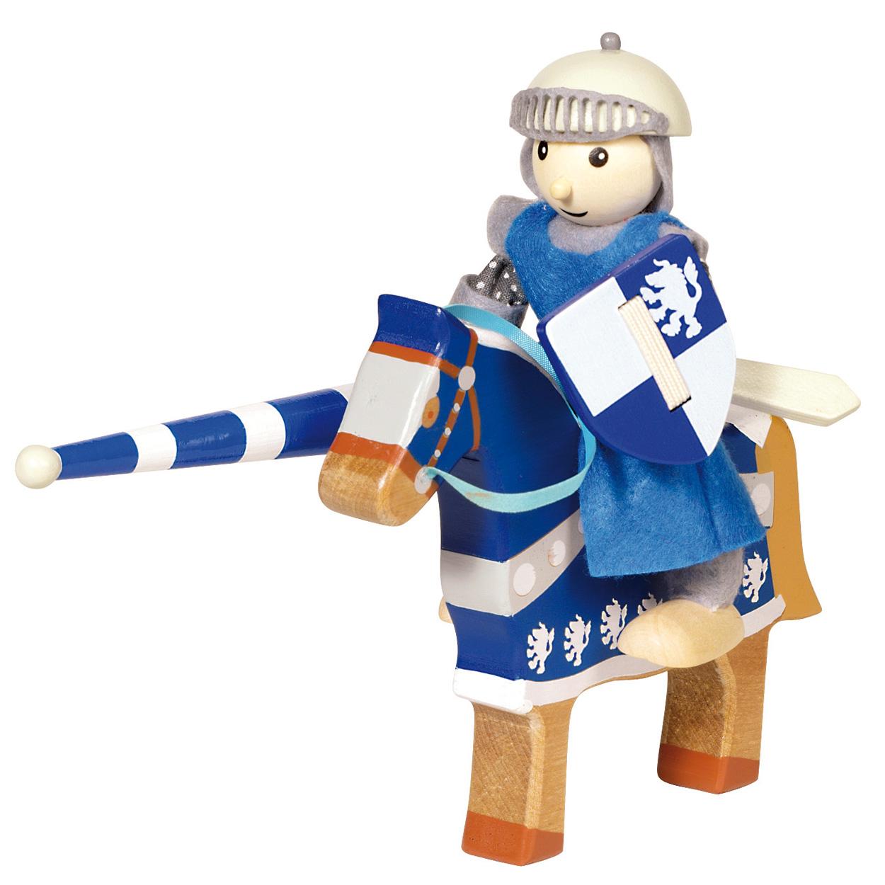 Houten ridder met paard blauw online kopen for Poppenhuis poppetjes