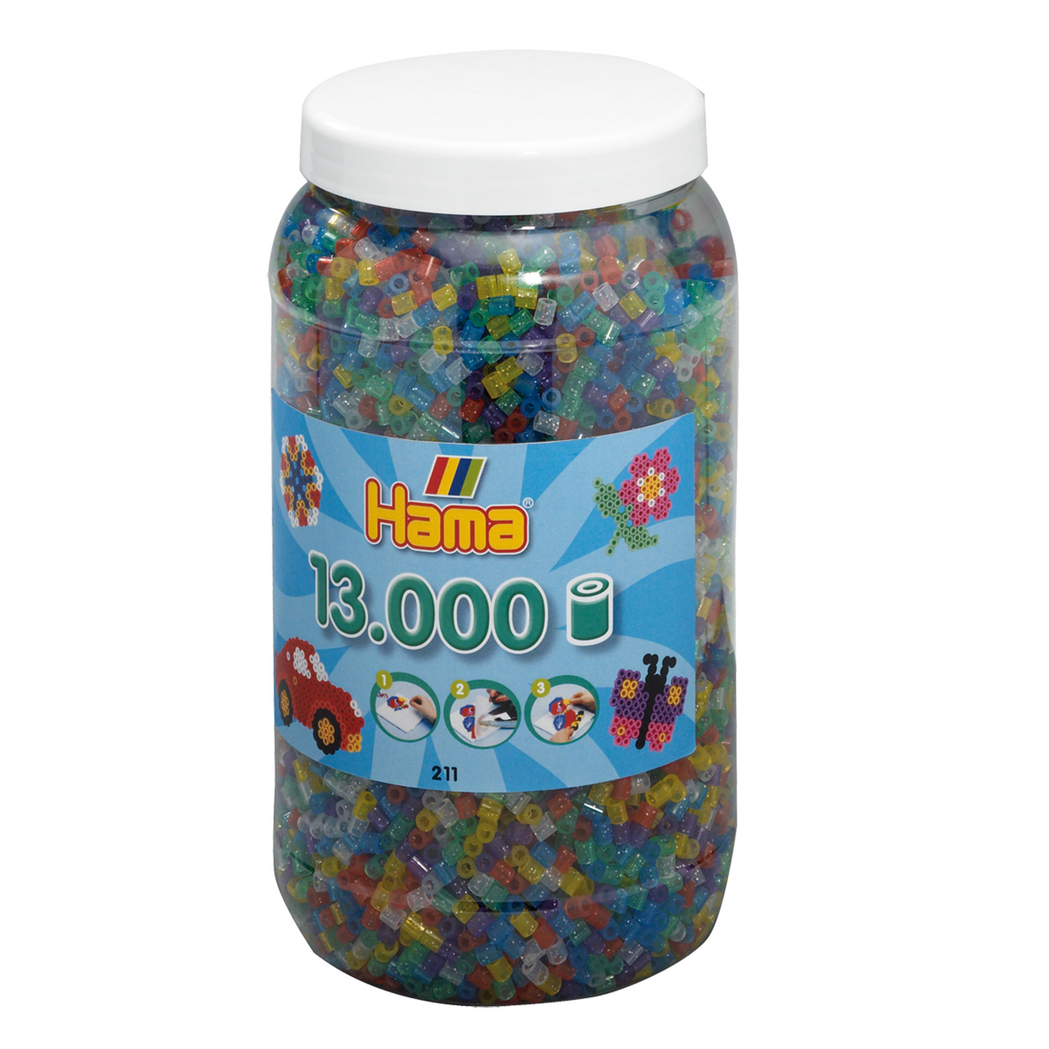 Hama Strijkkralen in Pot - Glittermix (054), 13.000st.
